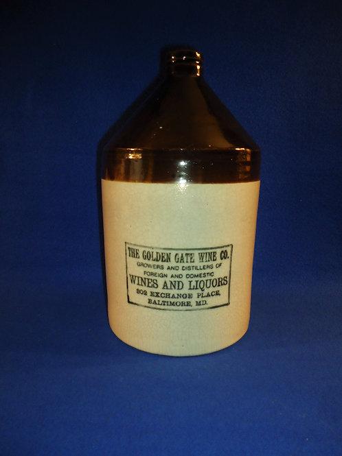 Golden Gate Wine Company, Baltimore, Maryland Stoneware Jug