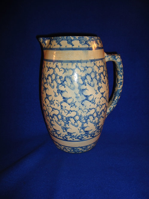 Blue and White Spongeware Stoneware Banded Pitcher