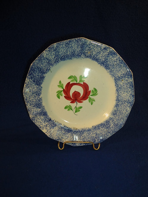 "Blue and White Spatterware 7"" Bread Plate in the Adam's Rose Pattern #4616"