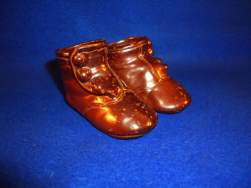 Sewer Tile Stoneware Pair of Baby Shoes in Actual Size