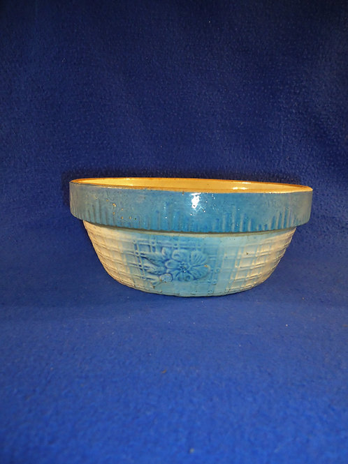 Scarce Blue and White Stoneware Apple Blossom on Trellis Bowl 7 1/2""