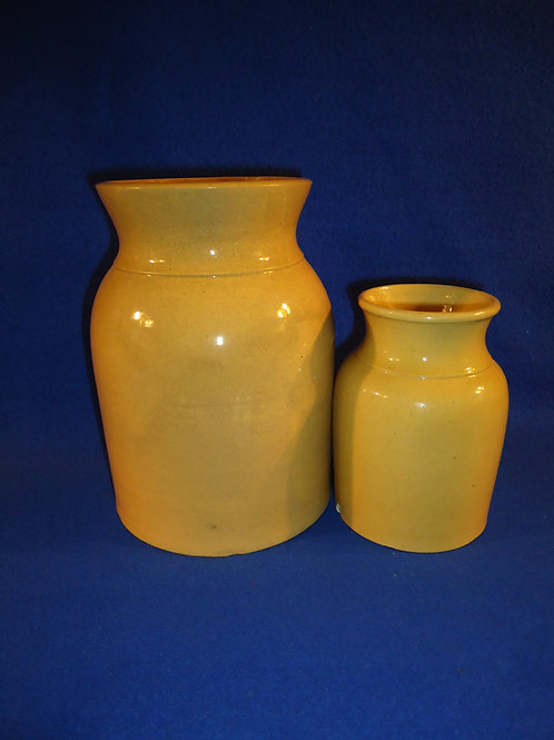 2 Yellow Ware Fruit Jars for 1 Money #5291
