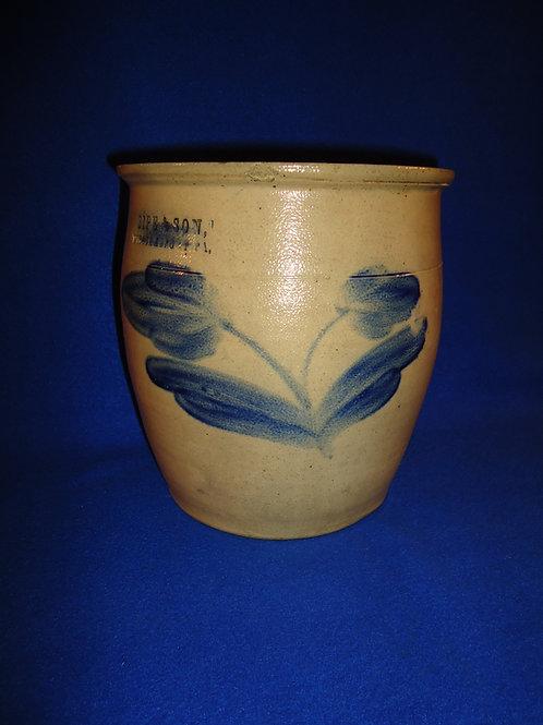 Sipe and Son, Williamsport, Pennsylvania Stoneware Cream Pot with Double Tulips
