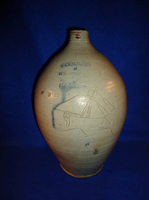 Goodwin and Webster, Hartford, Connecticut Stoneware Ovoid Jug with Incised Ship