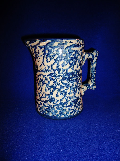Blue and White Stoneware Spongeware Pitcher with Bold Cobalt