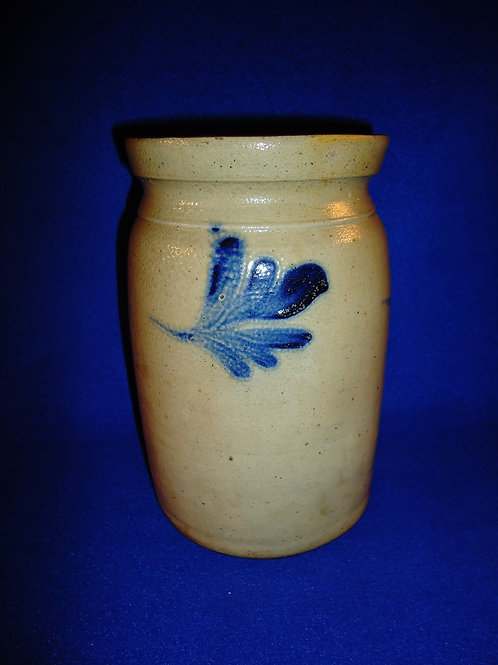 "8 3/4"" Stoneware Preserve Jar with 3 Leaves att. Richard Remmey of Philadelphia"