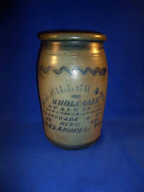 E. J. Miller, Alexandria, Virginia Stoneware 1 Gallon Jar with Advertising