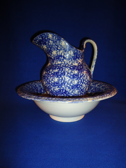 Blue and White Spongeware Stoneware Staffordshire Pitcher & Bowl, #4466