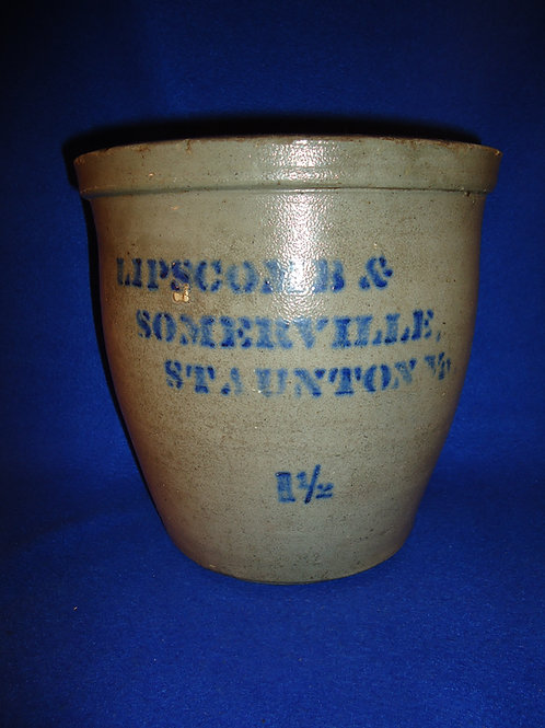 Lipscomb & Somerville, Staunton, Virginia Stoneware Cream Pot, by Donaghho of WV