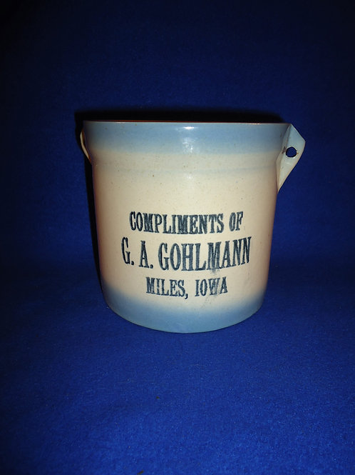 Gohlmann, Miles, Iowa Blue and White Stoneware Butter Crock, #5219