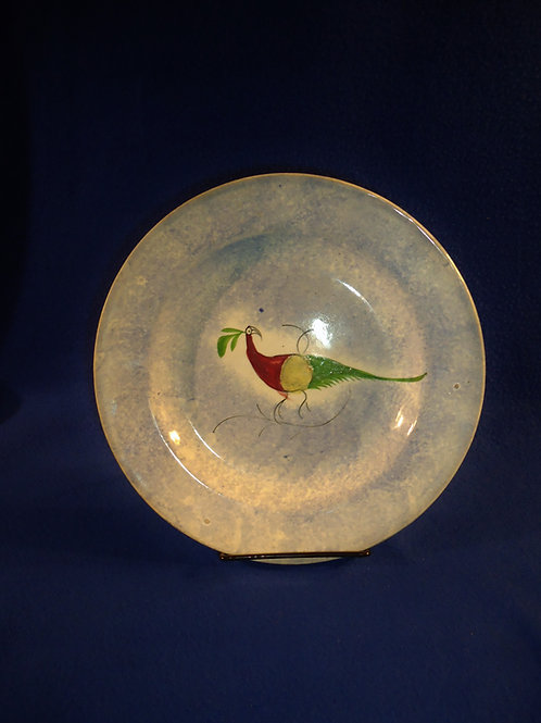 """Blue and White Spatterware 9"""" Plate with Peafowl Decoration"""