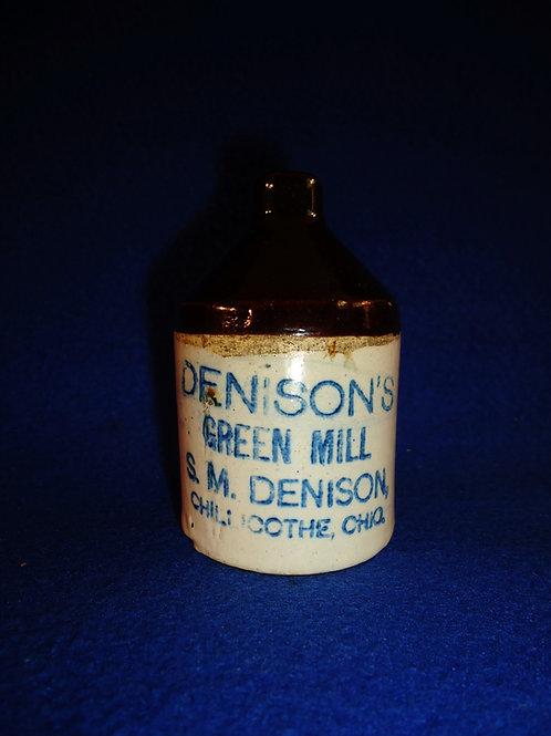 Denison's Green Mill Whiskey, Chillicothe, Ohio Stoneware Mini Jug