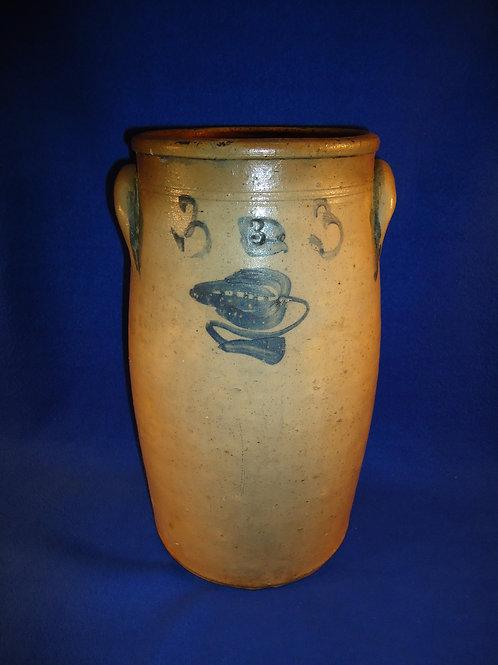 Circa 1860 Stoneware 3 Gallon Churn with Tulip from NE Ohio #5338