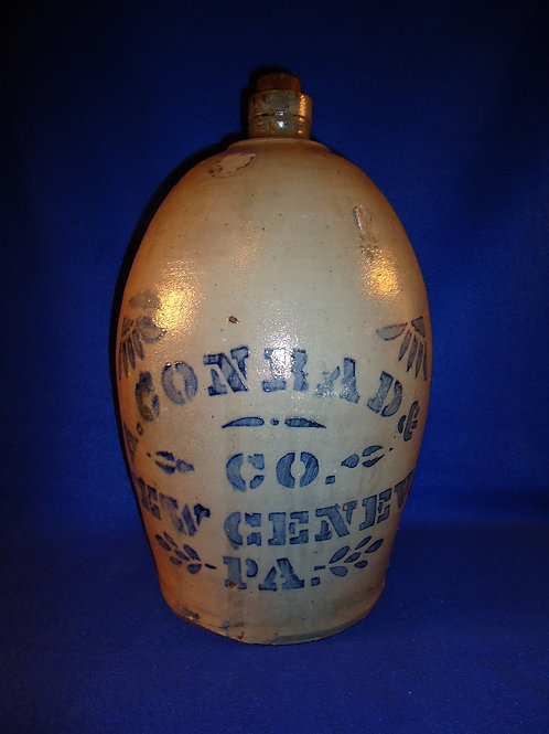 A. Conrad, New Geneva, Pennsylvania 2g Stoneware Jug with Large Lettering