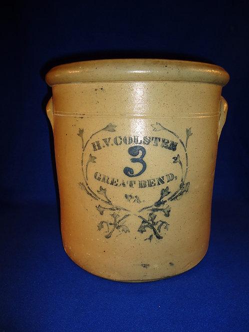 H. V. Colsten, Great Bend, Pennsylvania Stoneware 3 Gallon Crock