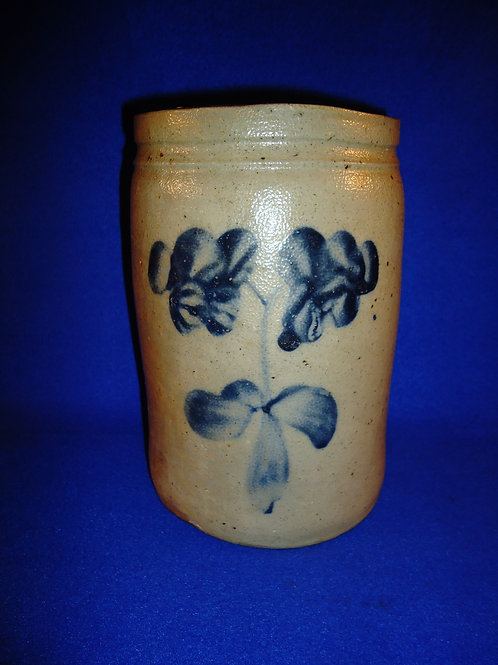 Circa 1870 Stoneware 1 Gallon Jar with Floral from Maryland