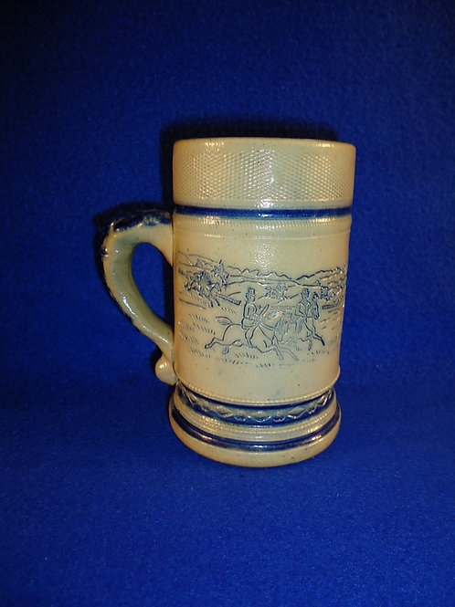 "Whites Pottery of Utica, New York Stoneware 5 1/4"" Mug with Fox Hunt Scene"