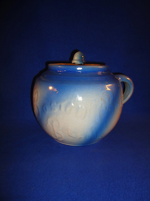 Blue and White Stoneware Boston Baked Beans Pot with Lid #5872