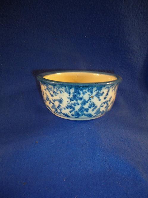 Circa 1890 Blue and White Spongeware Stoneware Berry Bowl #5368