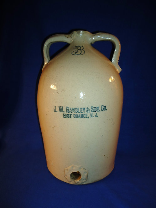 J. W. Ramsley, East Orange, New Jersey Stoneware 3 Gallon Cider Cooler
