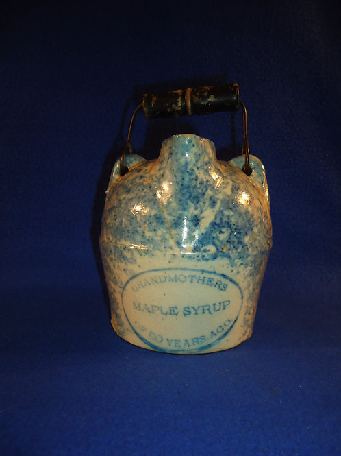 Blue and White Spongeware Maple Syrup Jug, Weeks of Akron, Ohio