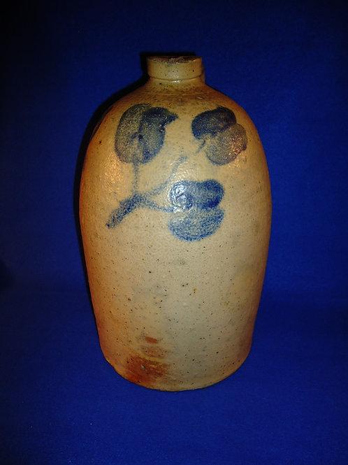 Circa 1880 2 Gallon Stoneware Jug with 3 Tulips from Ohio