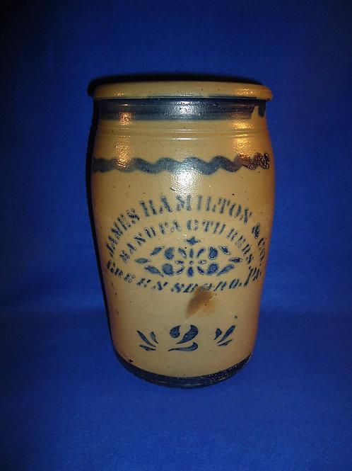 James Hamilton,  Greensboro, Pennsylvania Stoneware 2 Gallon Jar #5712