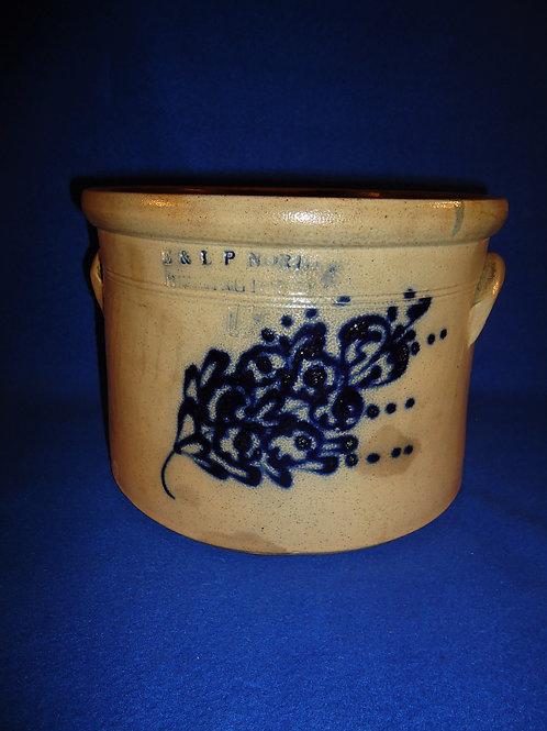 E. & L. P. Norton, Bennington, Vermont Stoneware Cake Crock w/ Bouquet #5109