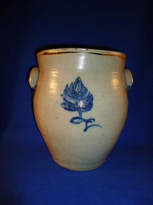Circa 1830 2 Gallon Stoneware Ovoid Cream Pot with Cobalt Tulip