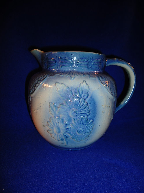 Blue and White Stoneware Daisy Cluster Pitcher
