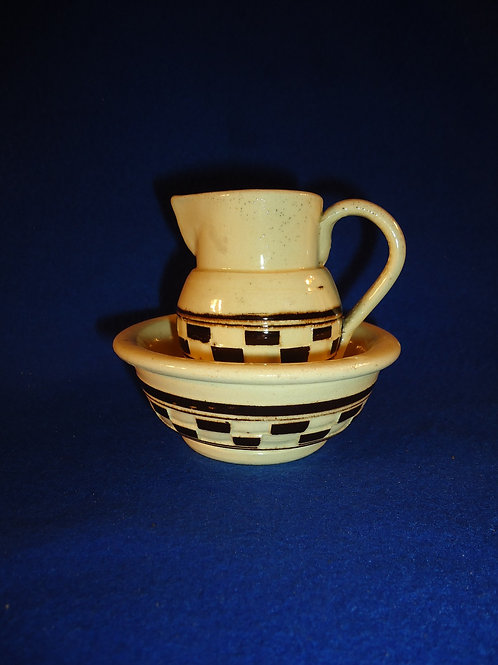 Miniature Child's Toy Stoneware Pitcher and Bowl
