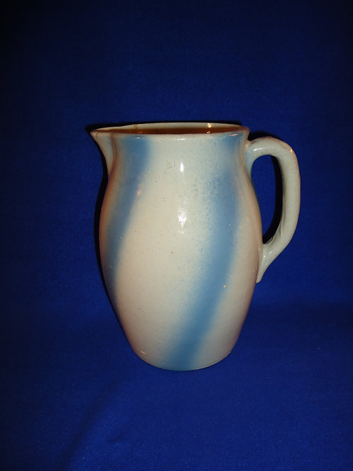 Blue and White Stoneware Pitcher in the Swirl Pattern