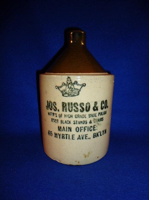Russo Shoe Polish, Brooklyn, New York Stoneware 1/2g Jug, Robinson Clay of Akron