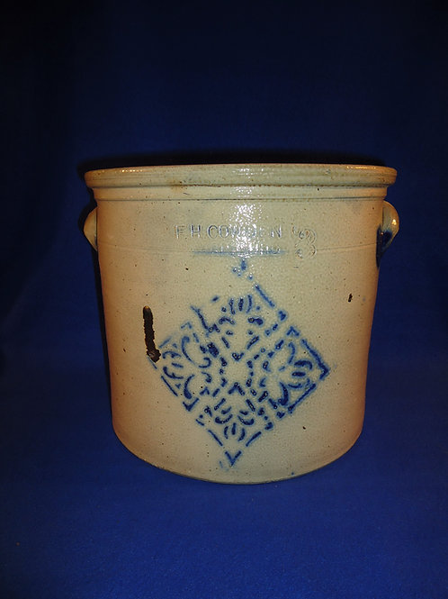 F. H. Cowden, Harrisburg, Pennsylvania Stoneware 3 Gallon Crock with Snowflake