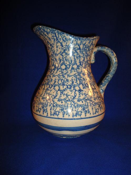 Blue and White Spongeware Stoneware Wash Pitcher #4608
