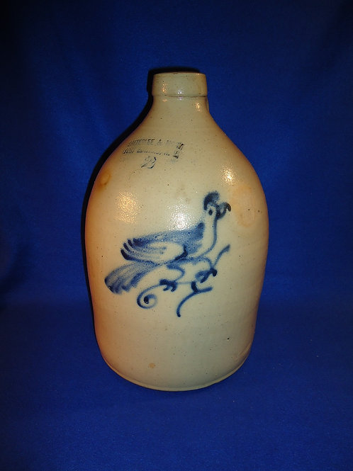 Satterlee & Mory, Fort Edward, N.Y. 2 Gallon Stoneware Jug with Bird Decoration