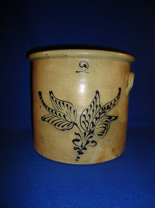 2 Gallon Stoneware Crock with Unusual Precise Floral, #4933