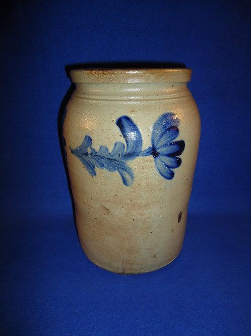Circa 1860 1 Gallon Stoneware Jar with Tulips, Baltimore, Maryland #5725