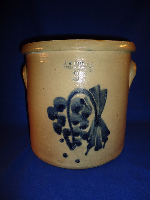 A. K. Ballard, Burlington, Vermont Stoneware 3g Crock with Cluster of Grapes