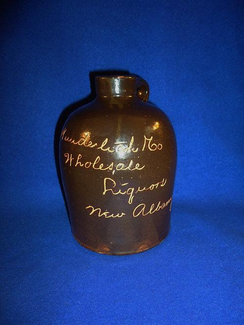 Wunderlich & Co., Wholesale Liquors, New Albany, Indiana Stoneware Jug