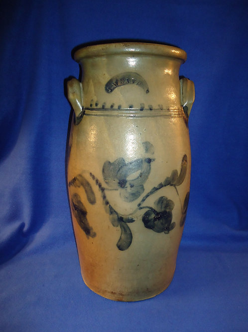 J. Weaver, Beaver, Pennsylvania Stoneware 6 Gallon Churn with Fuchsia