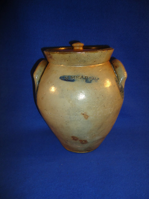 I. M. Mead, Portage County, Ohio Stoneware 1 Gallon Ovoid Jar with Lid #5611