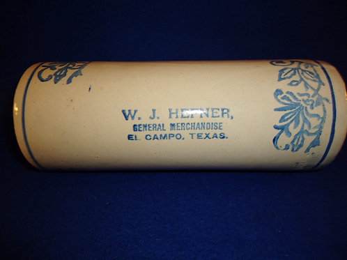 W. J. Hefner, El Campo, Texas Blue and White Stoneware Rolling Pin