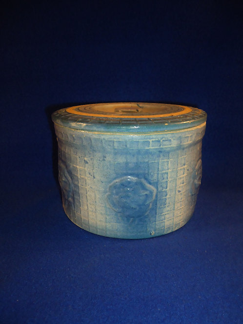 Blue and White Stonewware Open Rose Butter Crock