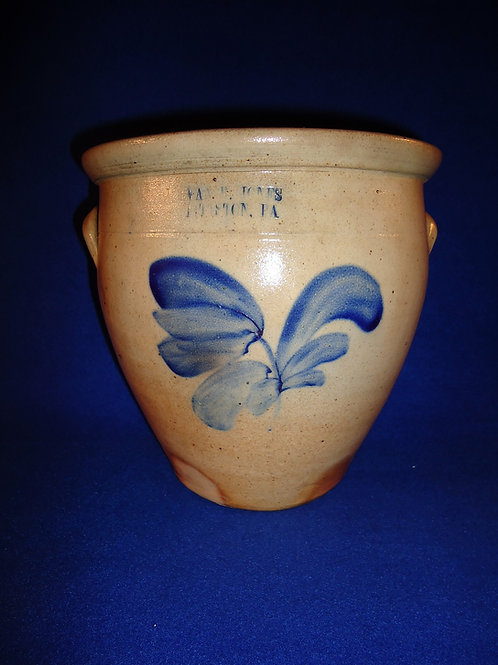 Evan Jones, Pittston, Pennsylvania Stoneware 1 Gallon Cream Pot with Tulip