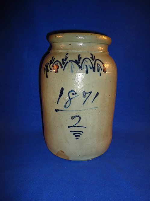 Dated 1871 2 Gallon Stoneware Jar from Beaver, PA, #4703