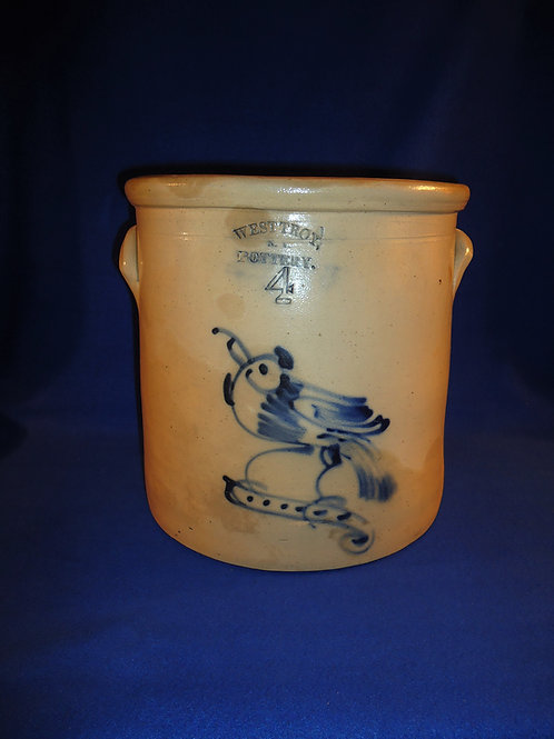 West Troy Pottery 3 Gallon Crock with Bird, William Warner, #4812