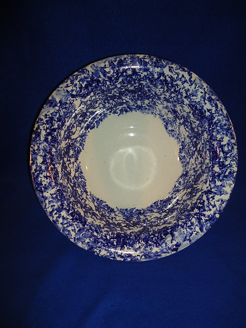 Large Staffordshire Blue and White Spongeware Stoneware Wash Bowl #4462