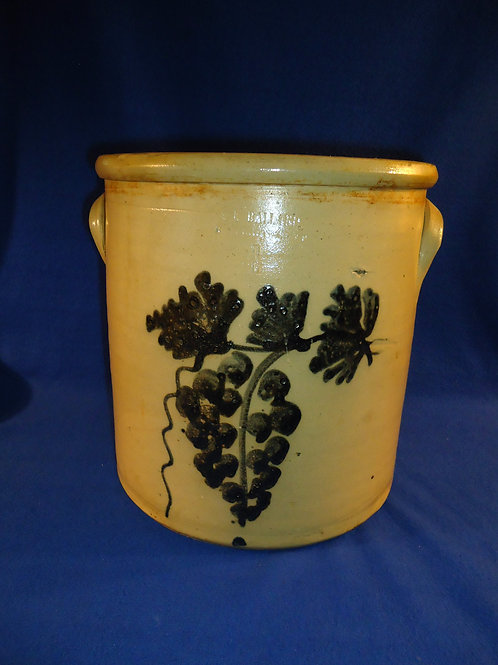 A. K. Ballard, Burlington, Vermont Stoneware 4 Gallon Crock with Grapes