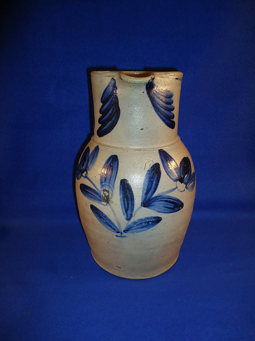 Circa 1850 1 1/2 Gallon Stoneware Pitcher with Fan Flowers #4968